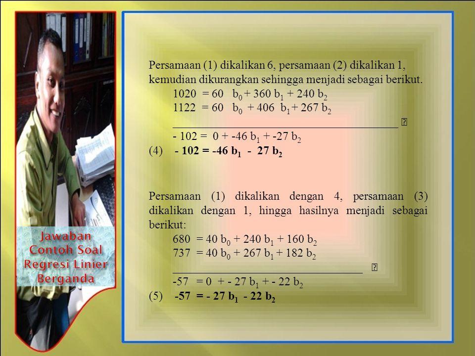 Persamaan (1) dikalikan 6, persamaan (2) dikalikan 1, kemudian dikurangkan sehingga menjadi sebagai berikut. 1020 = 60 b 0 + 360 b 1 + 240 b 2 1122 =