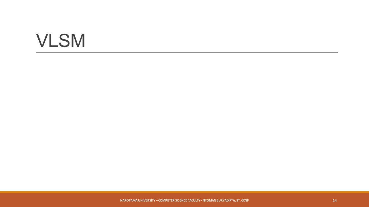 NAROTAMA UNIVERSITY – COMPUTER SCIENCE FACULTY - NYOMAN SURYADIPTA, ST. CCNP 14 VLSM