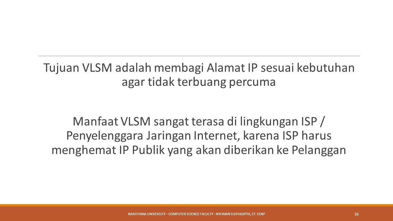 Tujuan VLSM adalah membagi Alamat IP sesuai kebutuhan agar tidak terbuang percuma Manfaat VLSM sangat terasa di lingkungan ISP / Penyelenggara Jaringa
