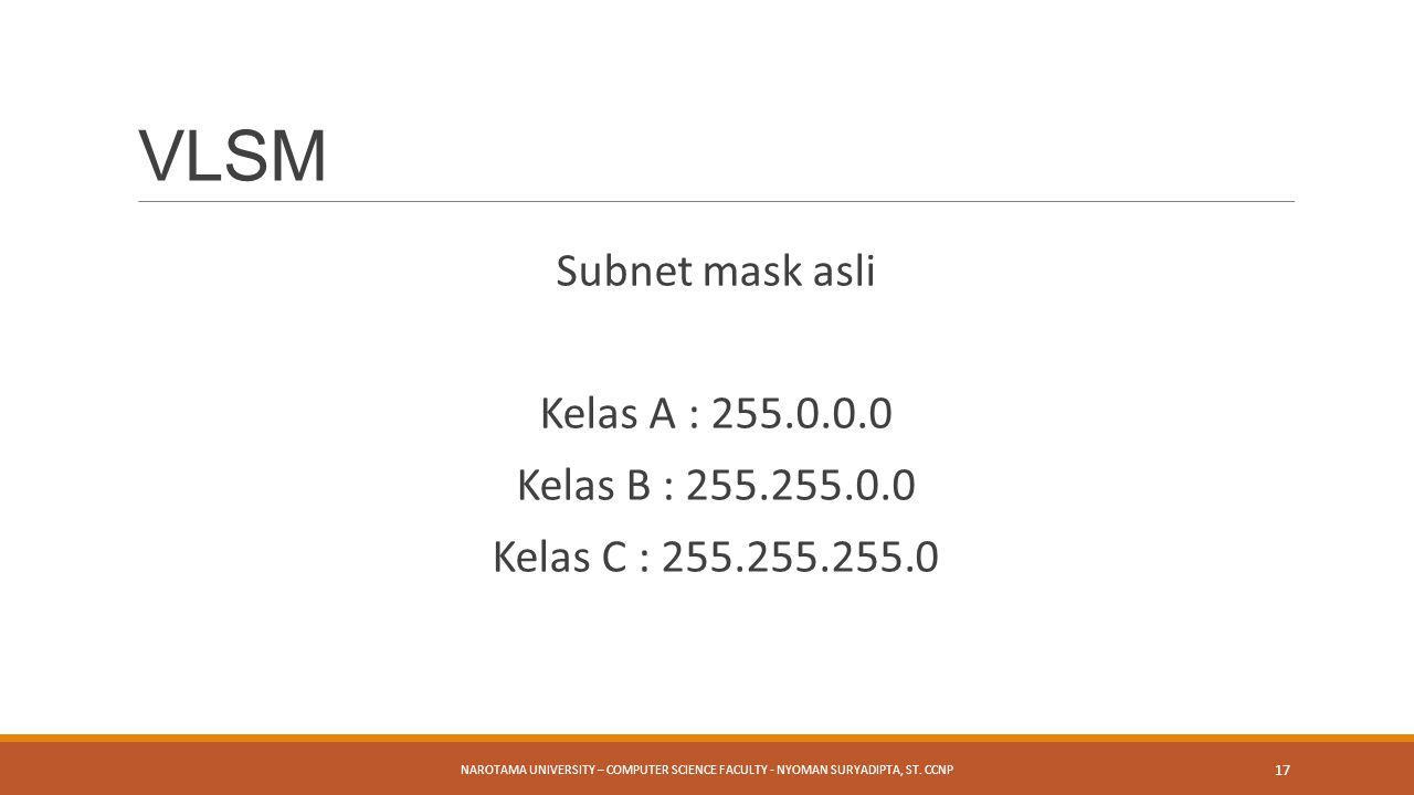 Subnet mask asli Kelas A : 255.0.0.0 Kelas B : 255.255.0.0 Kelas C : 255.255.255.0 NAROTAMA UNIVERSITY – COMPUTER SCIENCE FACULTY - NYOMAN SURYADIPTA,
