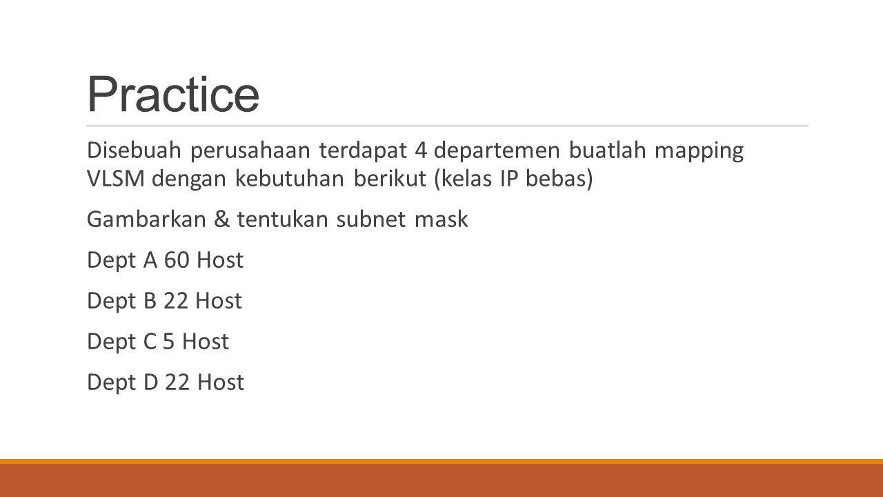 Practice Disebuah perusahaan terdapat 4 departemen buatlah mapping VLSM dengan kebutuhan berikut (kelas IP bebas) Gambarkan & tentukan subnet mask Dep