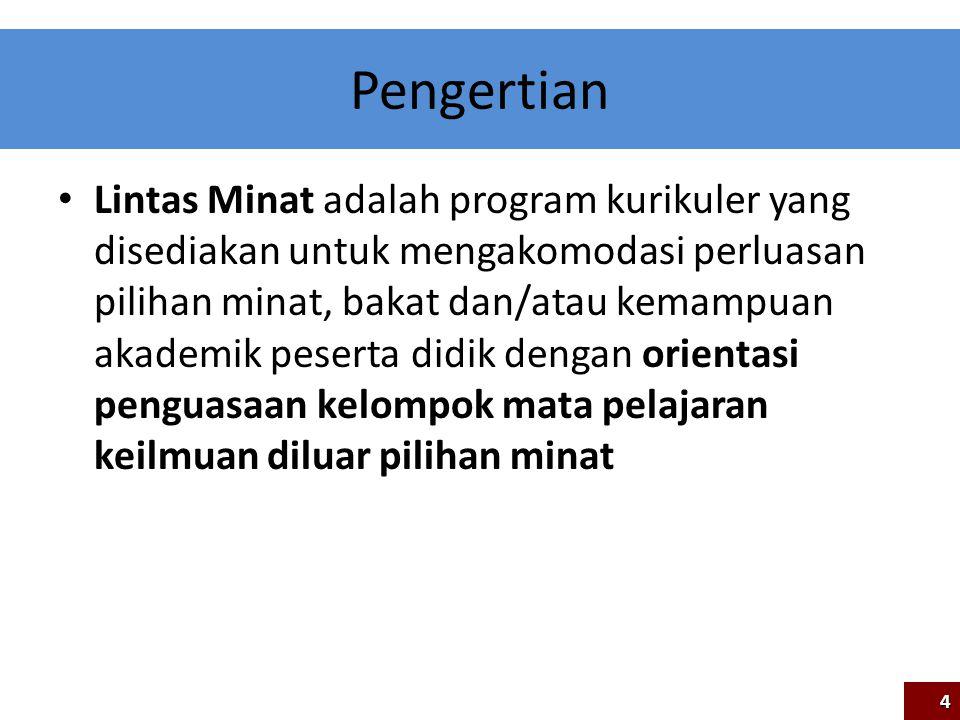 Pengertian Lintas Minat adalah program kurikuler yang disediakan untuk mengakomodasi perluasan pilihan minat, bakat dan/atau kemampuan akademik pesert