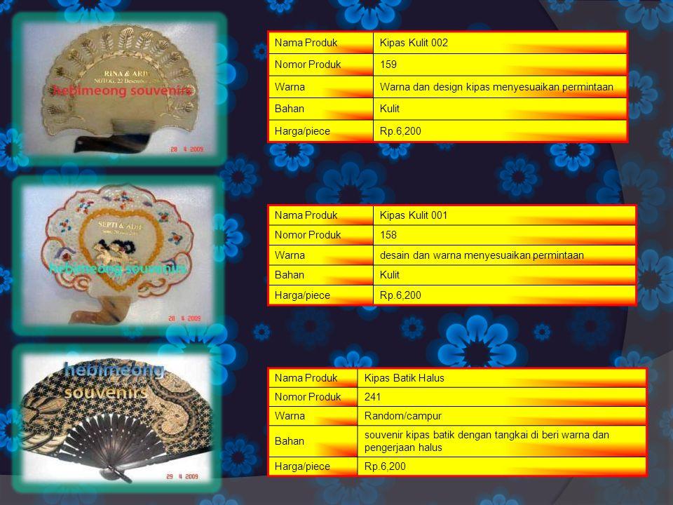 Nama ProdukKipas Kulit 002 Nomor Produk159 WarnaWarna dan design kipas menyesuaikan permintaan BahanKulit Harga/pieceRp.6,200 Nama ProdukKipas Kulit 0