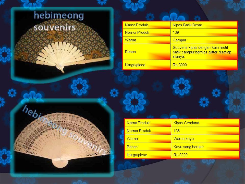 Nama ProdukKipas Batik Besar Nomor Produk139 WarnaCampur Bahan Souvenir kipas dengan kain motif batik campur berhias glitter disetiap sisinya. Harga/p