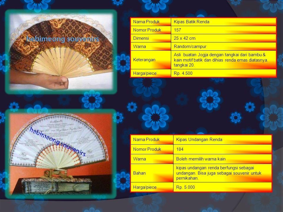 Nama ProdukKipas Batik Renda Nomor Produk157 Dimensi25 x 42 cm WarnaRandom/campur Keterangan Asli buatan Jogja dengan tangkai dari bambu & kain motif