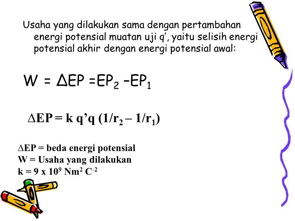 Usaha yang dilakukan sama dengan pertambahan energi potensial muatan uji q', yaitu selisih energi potensial akhir dengan energi potensial awal: W = ∆EP =EP 2 –EP 1 ∆EP = k q'q (1/r 2 – 1/r 1 ) ∆EP = beda energi potensial W = Usaha yang dilakukan k = 9 x 10 9 Nm 2 C -2
