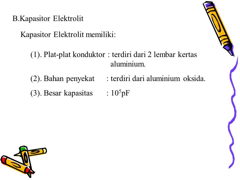 B.Kapasitor Elektrolit Kapasitor Elektrolit memiliki: (1). Plat-plat konduktor : terdiri dari 2 lembar kertas aluminium. (2). Bahan penyekat : terdiri