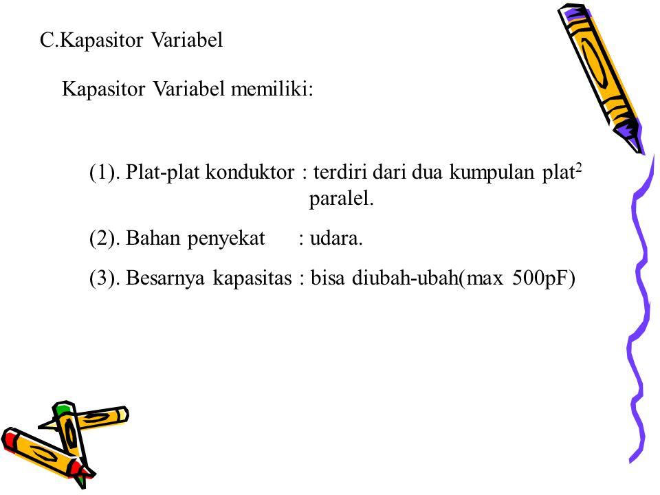 C.Kapasitor Variabel Kapasitor Variabel memiliki: (1). Plat-plat konduktor : terdiri dari dua kumpulan plat 2 paralel. (2). Bahan penyekat : udara. (3