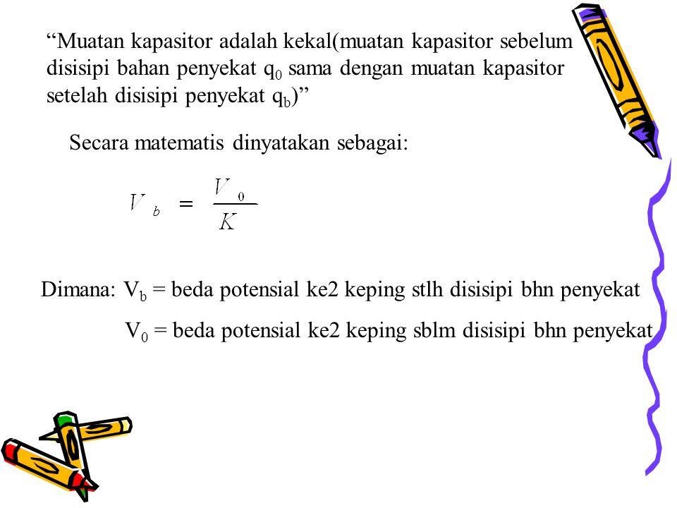 Muatan kapasitor adalah kekal(muatan kapasitor sebelum disisipi bahan penyekat q 0 sama dengan muatan kapasitor setelah disisipi penyekat q b ) Secara matematis dinyatakan sebagai: Dimana: V b = beda potensial ke2 keping stlh disisipi bhn penyekat V 0 = beda potensial ke2 keping sblm disisipi bhn penyekat
