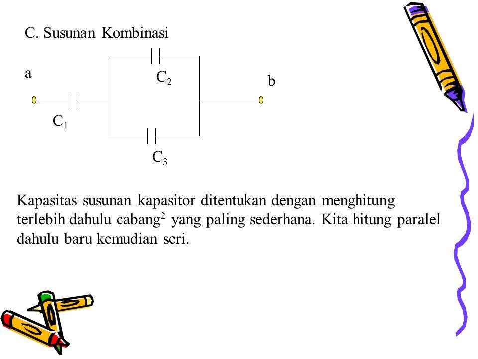 C. Susunan Kombinasi C1C1 C3C3 C2C2 a b Kapasitas susunan kapasitor ditentukan dengan menghitung terlebih dahulu cabang 2 yang paling sederhana. Kita