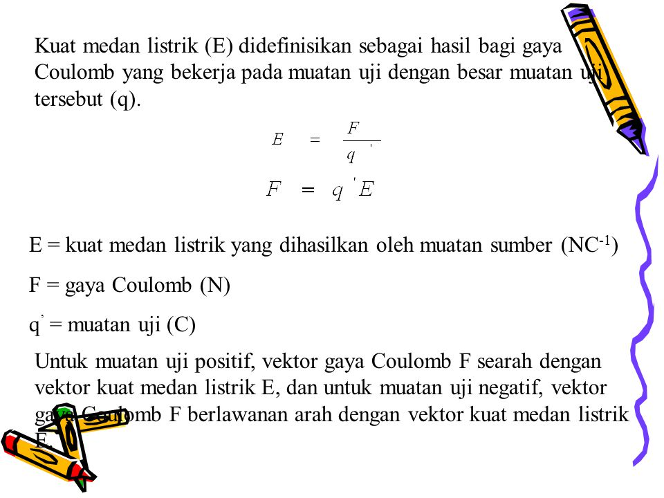Rumus kuat medan listrik oleh sebuah muatan titik R = jarak titik terhadap muatan sumber (m) q = muatan sumber (C) E = besar kuat medan listrik (N/C)