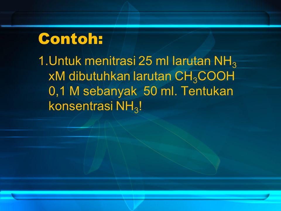 Contoh: 1.Untuk menitrasi 25 ml larutan NH 3 xM dibutuhkan larutan CH 3 COOH 0,1 M sebanyak 50 ml.