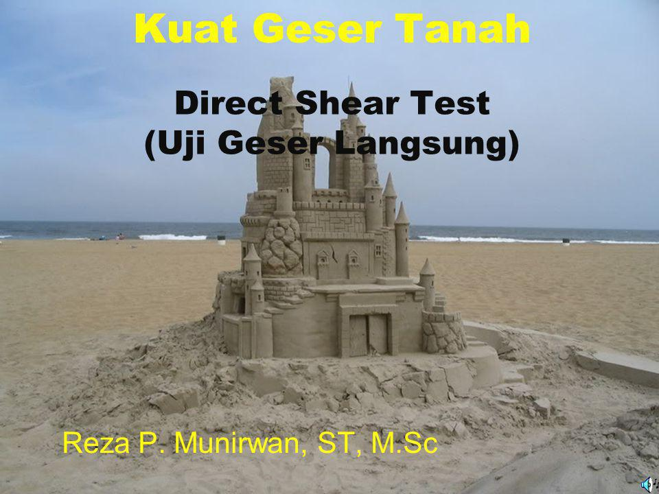 Direct shear tests pada pasir Shear stress,  Shear displacement Dense sand/ OC clay ff Loose sand/ NC clay ff Dense sand/OC Clay Loose sand/NC Clay Change in height of the sample Expansion Compression Shear displacement Stress-strain relationship