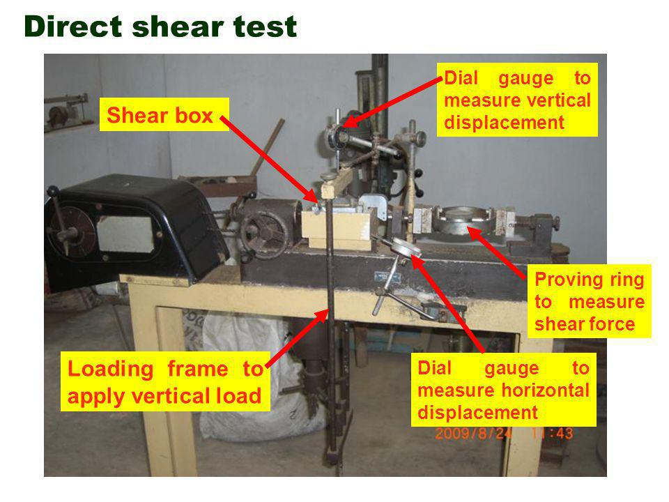 Direct shear test Shear box Loading frame to apply vertical load Dial gauge to measure vertical displacement Dial gauge to measure horizontal displacement Proving ring to measure shear force