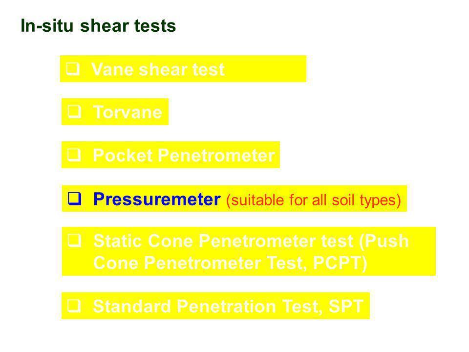 In-situ shear tests  Vane shear test  Torvane  Pocket Penetrometer  Pressuremeter (suitable for all soil types)  Static Cone Penetrometer test (P