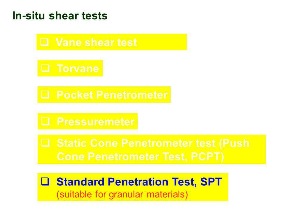 In-situ shear tests  Vane shear test  Torvane  Pocket Penetrometer  Pressuremeter  Static Cone Penetrometer test (Push Cone Penetrometer Test, PCPT)  Standard Penetration Test, SPT (suitable for granular materials)