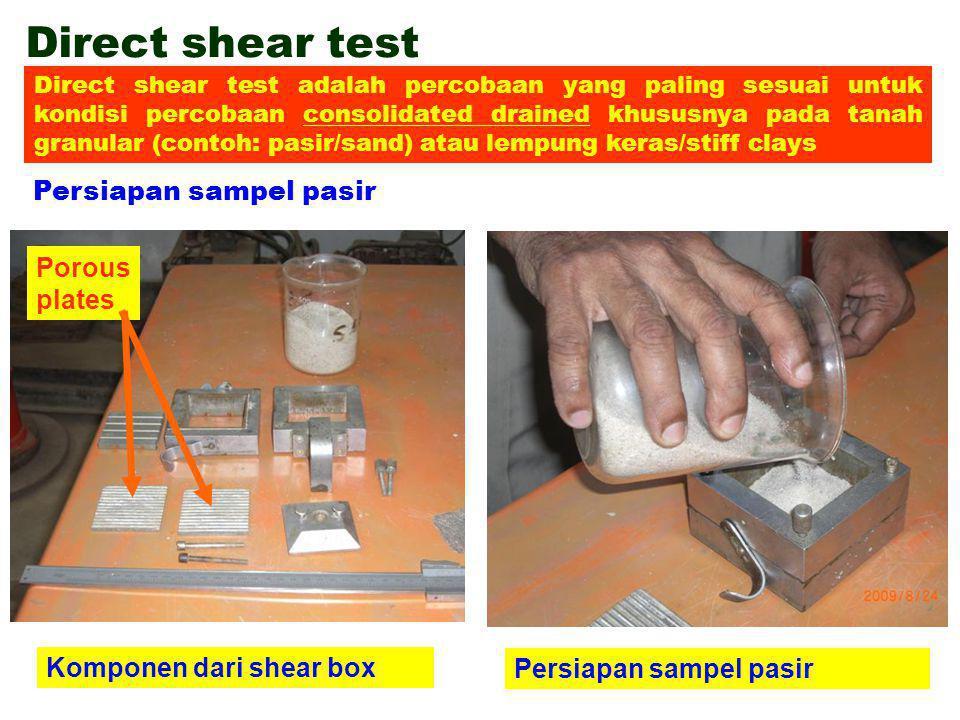 Direct shear test Persiapan sampel pasir Komponen dari shear box Persiapan sampel pasir Porous plates Direct shear test adalah percobaan yang paling s