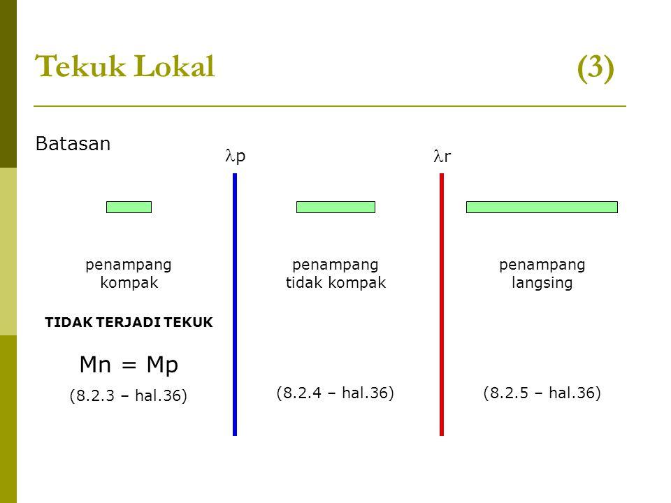 Tekuk Lokal (3) Batasan p r penampang kompak penampang tidak kompak penampang langsing TIDAK TERJADI TEKUK Mn = Mp (8.2.3 – hal.36) (8.2.4 – hal.36)(8