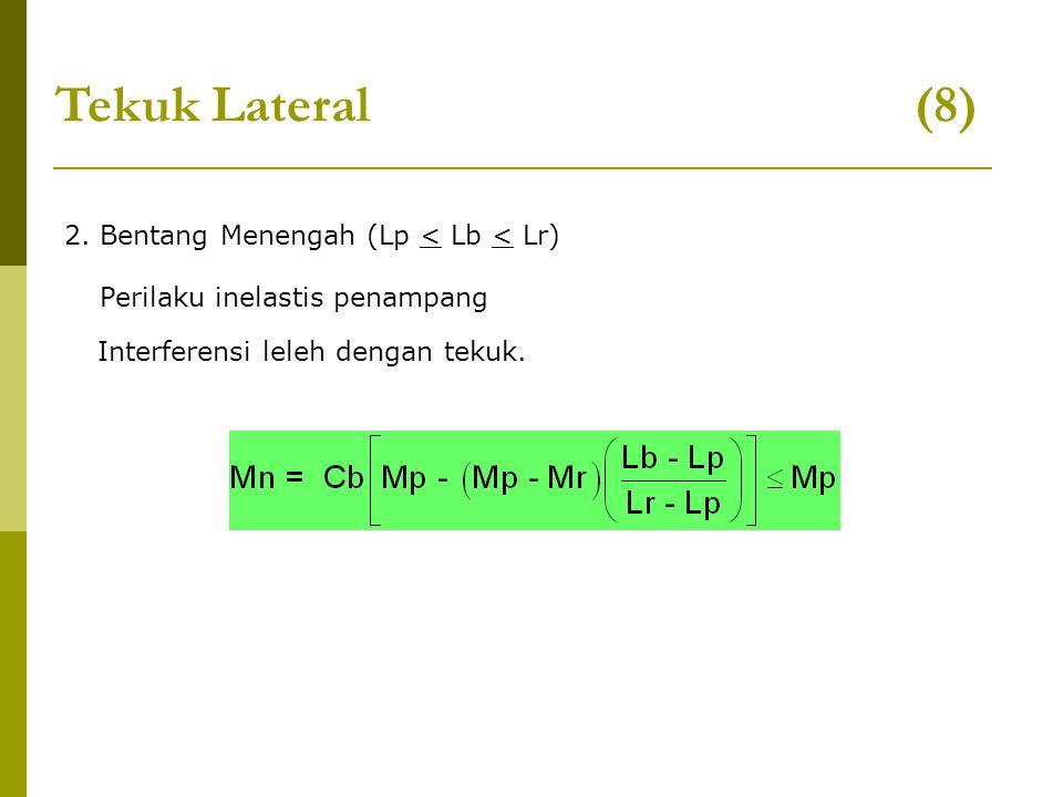 2. Bentang Menengah (Lp < Lb < Lr) Tekuk Lateral (8) Perilaku inelastis penampang Interferensi leleh dengan tekuk.