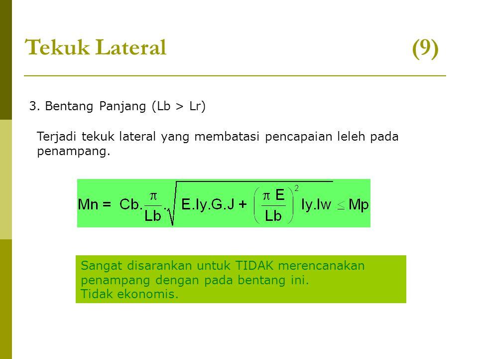 3. Bentang Panjang (Lb > Lr) Tekuk Lateral (9) Terjadi tekuk lateral yang membatasi pencapaian leleh pada penampang. Sangat disarankan untuk TIDAK mer