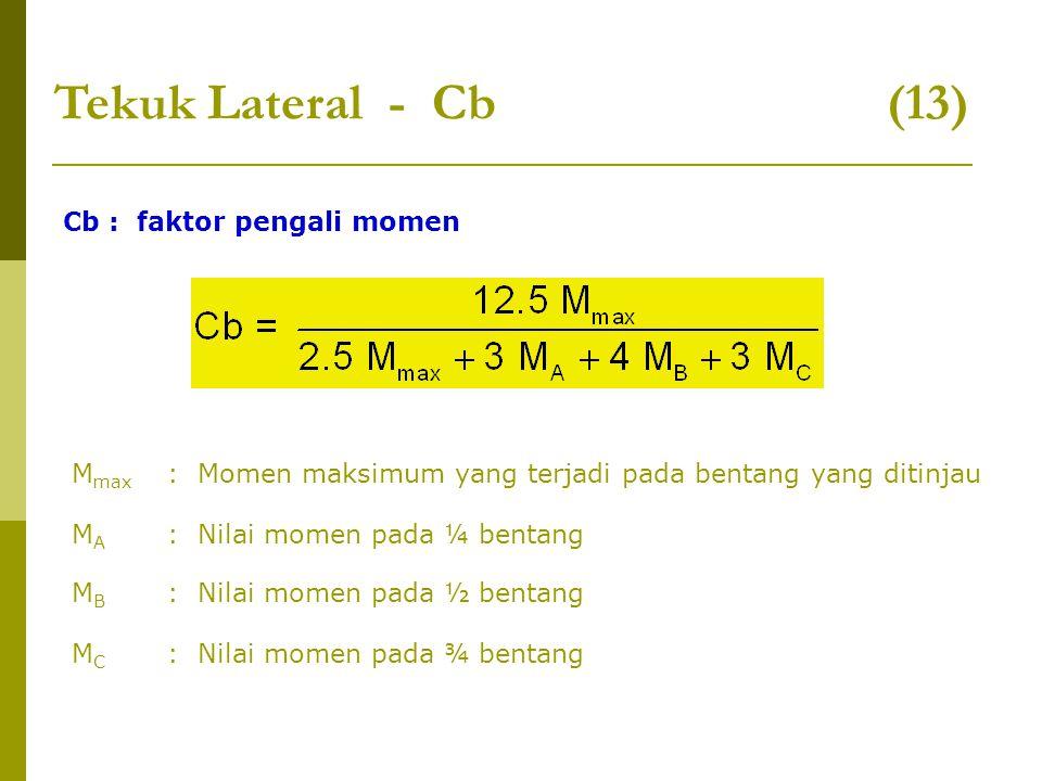 Tekuk Lateral - Cb (13) Cb : faktor pengali momen M max : Momen maksimum yang terjadi pada bentang yang ditinjau MAMA : Nilai momen pada ¼ bentang MBM
