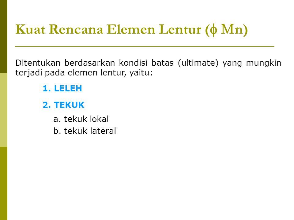 Kuat Rencana Elemen Lentur (  n) Ditentukan berdasarkan kondisi batas (ultimate) yang mungkin terjadi pada elemen lentur, yaitu: 1. LELEH 2. TEKUK