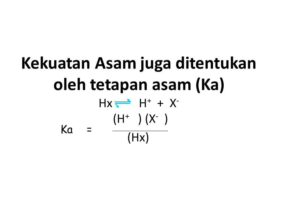 Kekuatan Asam juga ditentukan oleh tetapan asam (Ka) Hx H + + X - (H + ) (X - ) (Hx) Ka=