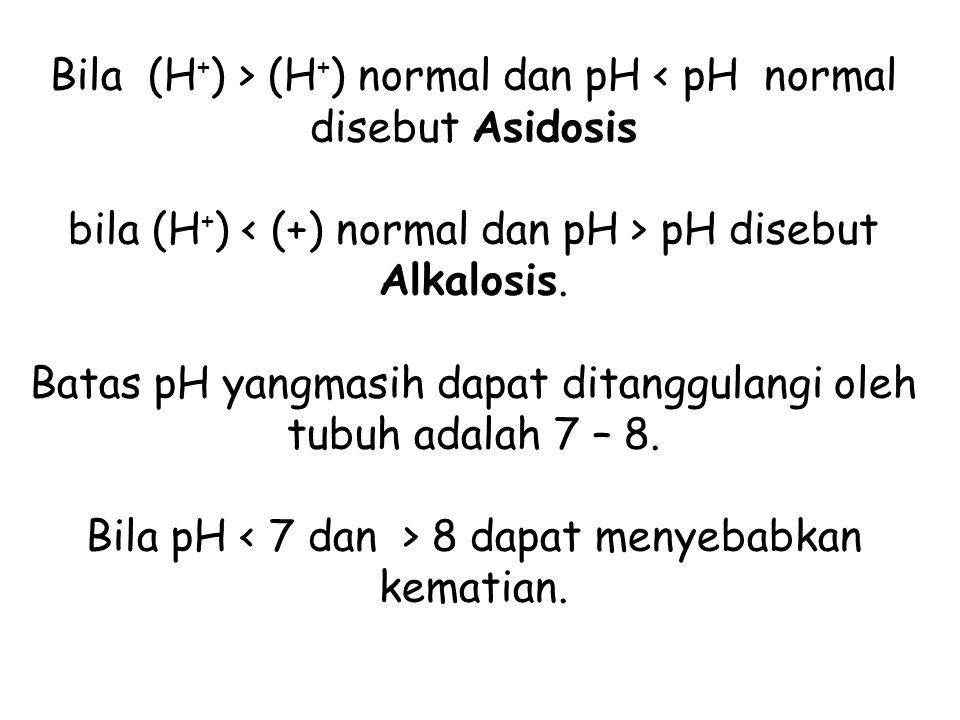 Bila (H + ) > (H + ) normal dan pH pH disebut Alkalosis. Batas pH yangmasih dapat ditanggulangi oleh tubuh adalah 7 – 8. Bila pH 8 dapat menyebabkan k