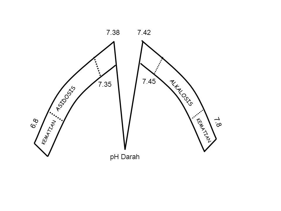 ASIDOSIS KEMATIAN ALKALOSIS KEMATIAN pH Darah 7.387.42 7.35 7.45 6.8 7.8
