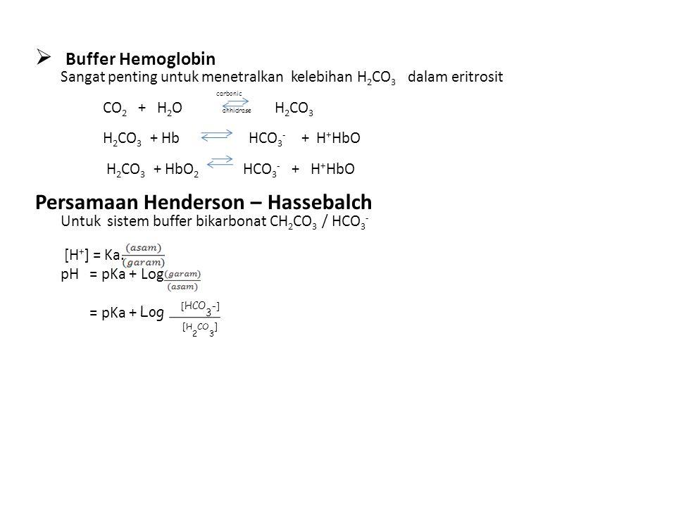  Buffer Hemoglobin Sangat penting untuk menetralkan kelebihan H 2 CO 3 dalam eritrosit CO 2 + H 2 O H 2 CO 3 H 2 CO 3 + Hb HCO 3 - + H + HbO H 2 CO 3