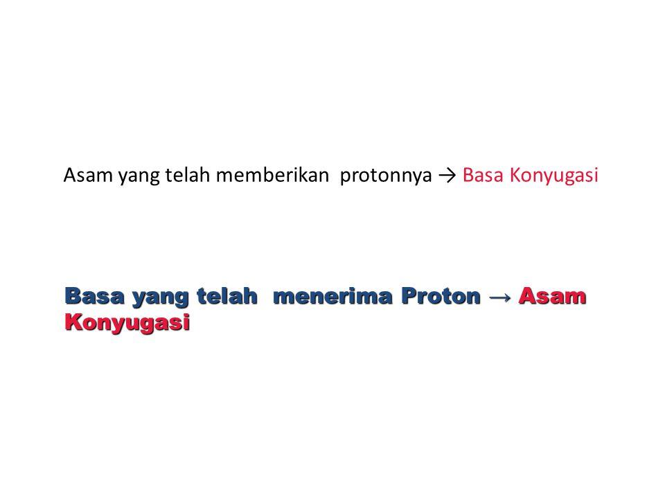 Asam yang telah memberikan protonnya → Basa Konyugasi Basa yang telah menerima Proton → Asam Konyugasi