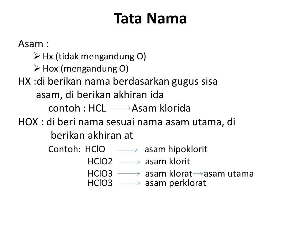 Tata Nama Asam :  Hx (tidak mengandung O)  Hox (mengandung O) HX :di berikan nama berdasarkan gugus sisa asam, di berikan akhiran ida contoh : HCL A
