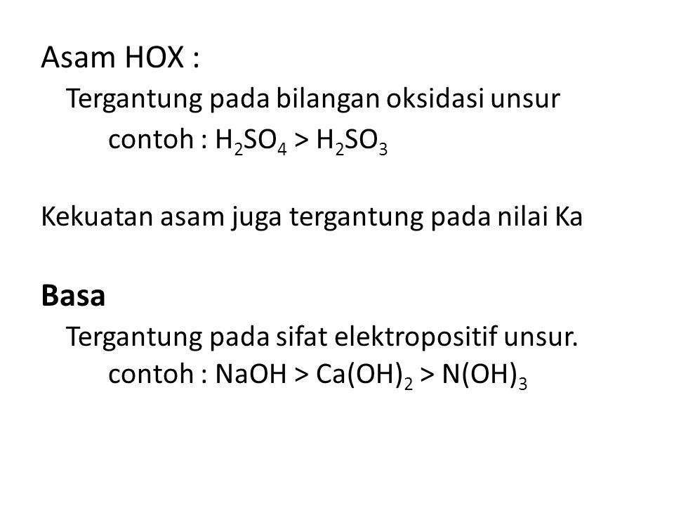 Asam HOX : Tergantung pada bilangan oksidasi unsur contoh : H 2 SO 4 > H 2 SO 3 Kekuatan asam juga tergantung pada nilai Ka Basa Tergantung pada sifat