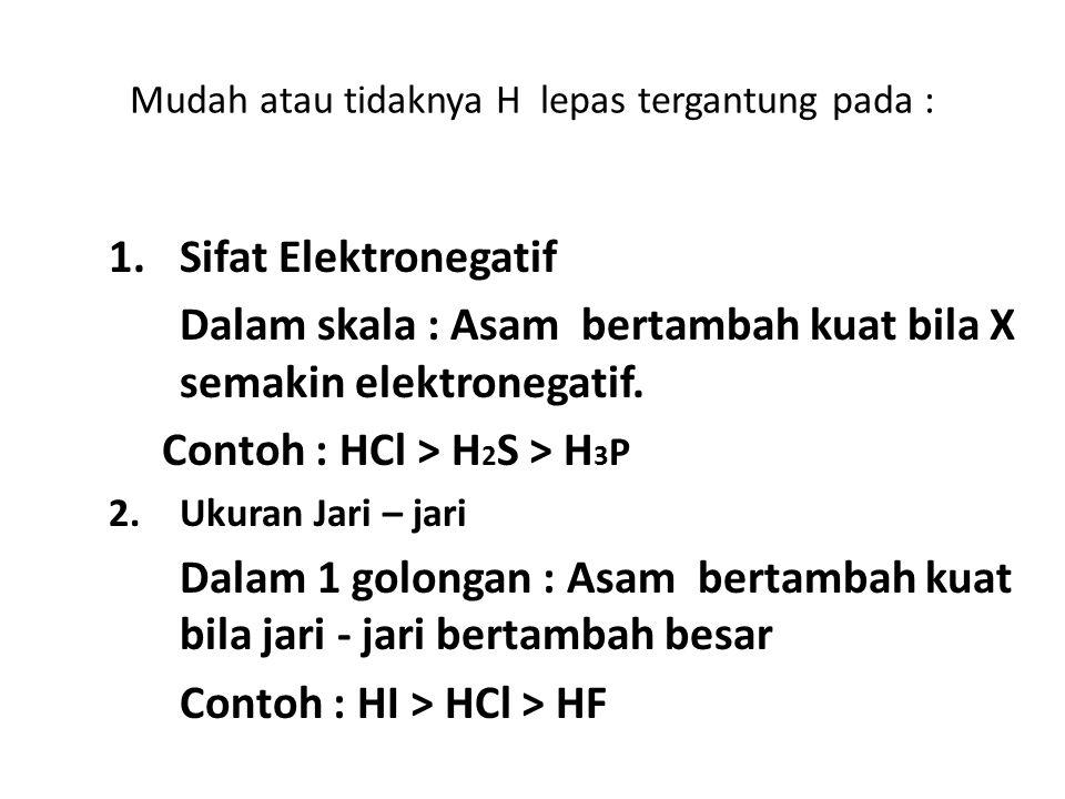Mudah atau tidaknya H lepas tergantung pada : 1.Sifat Elektronegatif Dalam skala : Asam bertambah kuat bila X semakin elektronegatif. Contoh : HCl > H