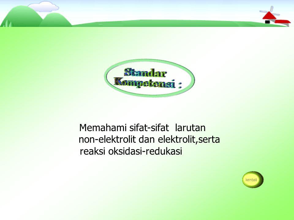 Mengidentifikasi sifat larutan non-elektrolit dan elektrolit berdasarkan data hasil percobaan.