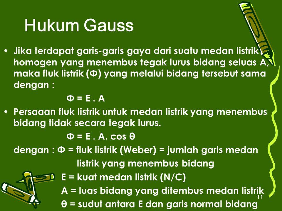 11 Hukum Gauss Jika terdapat garis-garis gaya dari suatu medan listrik homogen yang menembus tegak lurus bidang seluas A, maka fluk listrik (Φ) yang m