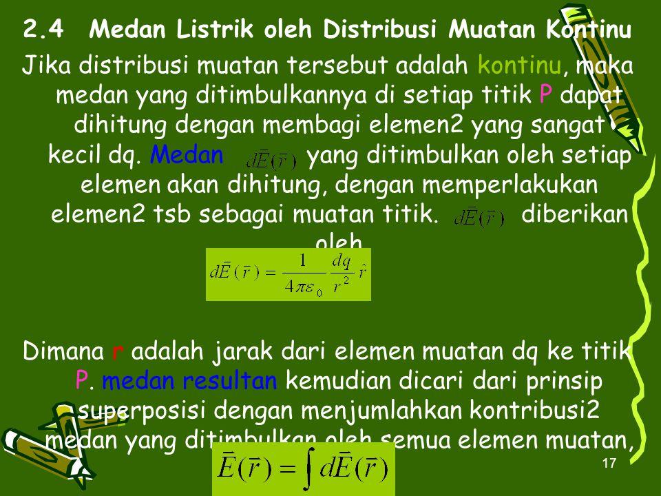 17 2.4Medan Listrik oleh Distribusi Muatan Kontinu Jika distribusi muatan tersebut adalah kontinu, maka medan yang ditimbulkannya di setiap titik P da
