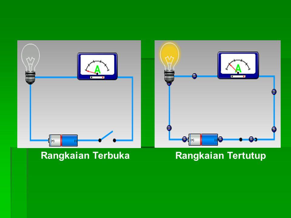 Simbol Komponen Listrik : sumber tegangan atau beda potensial : penghantar berarus listrik; arah panah menunjukkan arah aliran arus listrik.