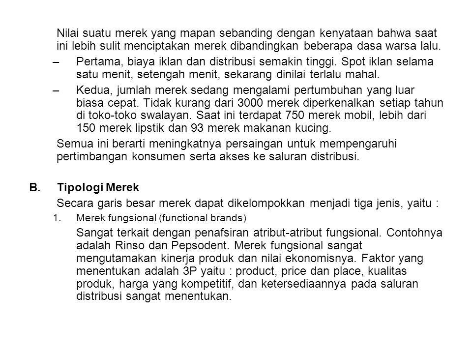 2.Merek citra (Image brands) Untuk memberikan manfaat ekspresi diri (self expession benefit).