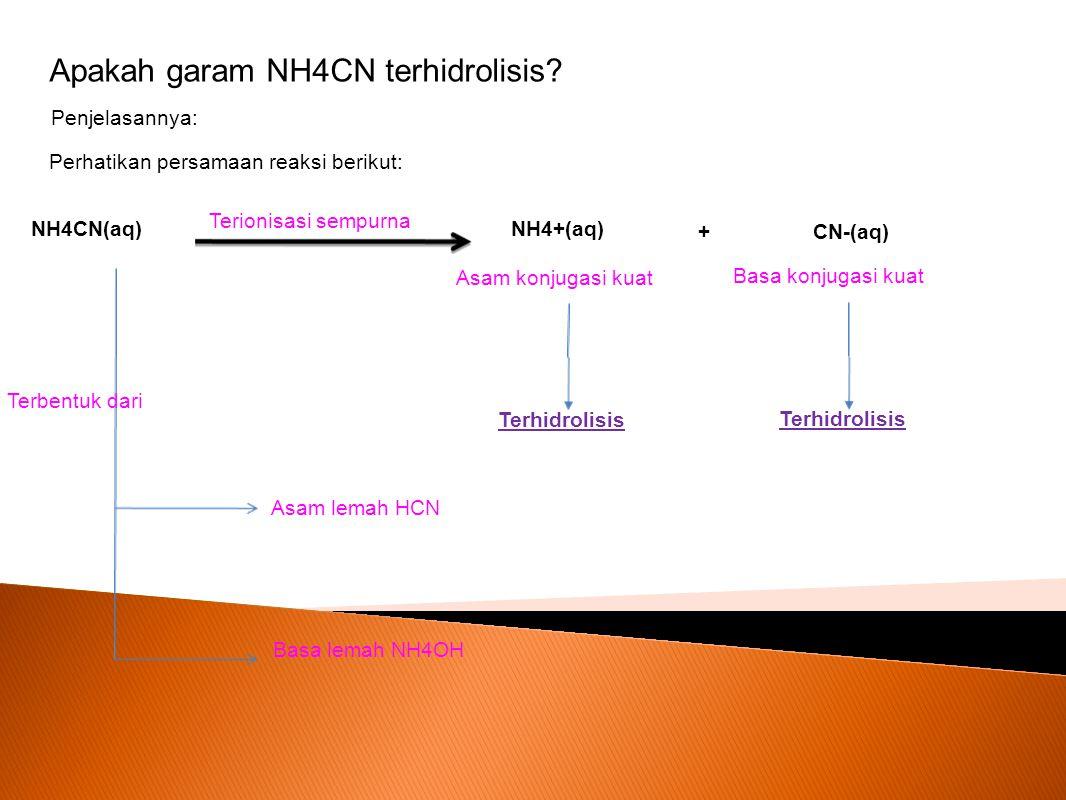 Penjelasannya: Perhatikan persamaan reaksi berikut: NH4CN(aq) NH4+(aq) CN-(aq)+ Terionisasi sempurna Asam konjugasi kuat Basa konjugasi kuat Terhidrol