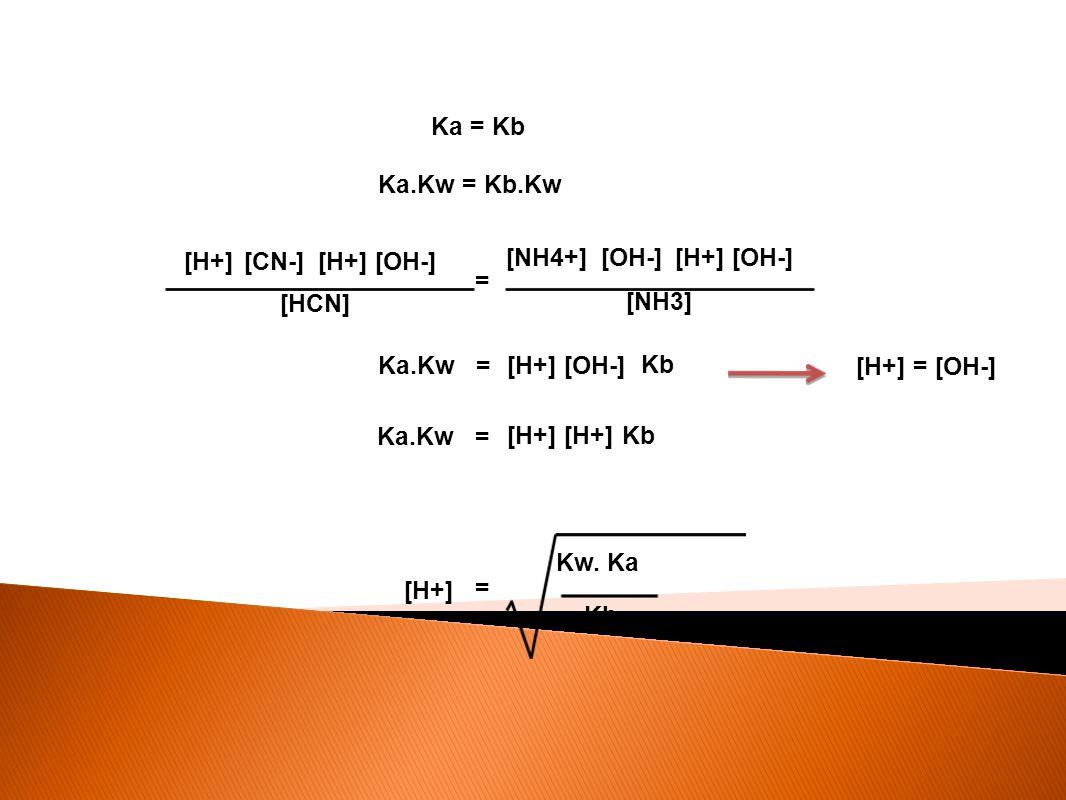 Ka = Kb Ka.Kw = Kb.Kw [H+] [HCN] [CN-] [H+] [OH-] = [H+] [OH-] [NH4+] [NH3] [OH-] = Ka.Kw [H+] [OH-] [H+] = [OH-] Kb = Ka.Kw [H+] Kb [H+] = Kw. Ka Kb