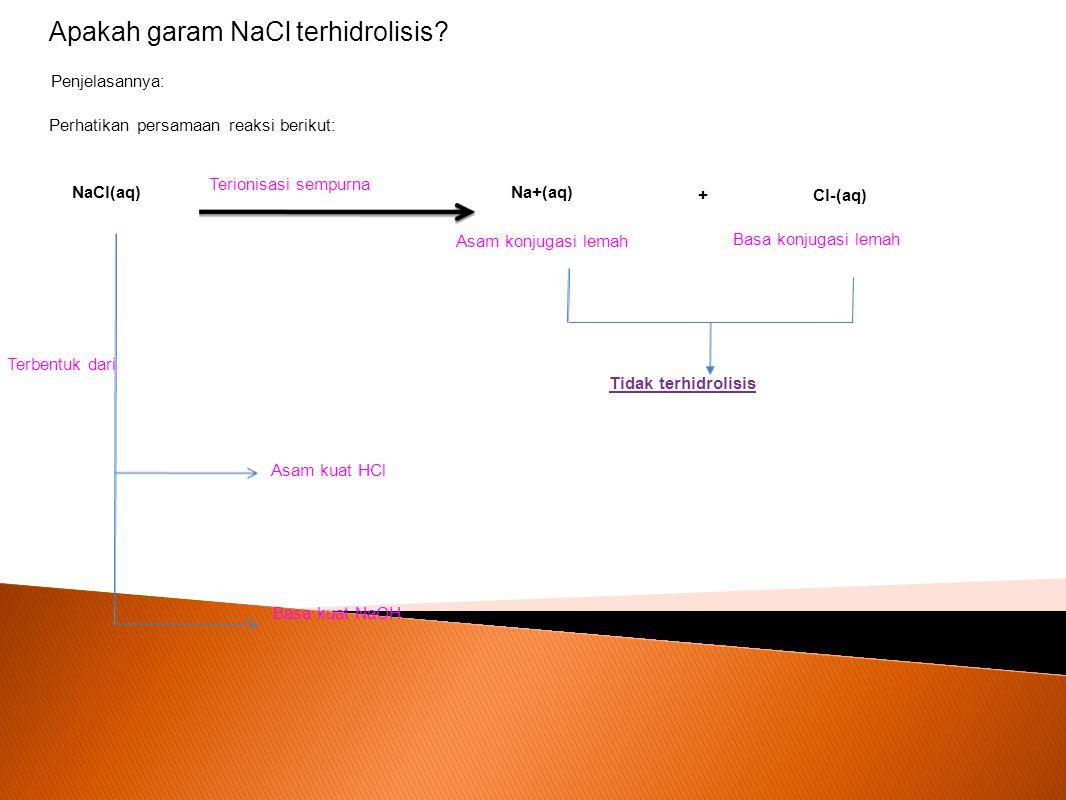 Penjelasannya: Perhatikan persamaan reaksi berikut: NaCl(aq) Na+(aq) Cl-(aq)+ Terionisasi sempurna Asam konjugasi lemah Basa konjugasi lemah Tidak ter