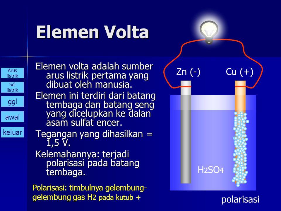 Elemen Volta Elemen volta adalah sumber arus listrik pertama yang dibuat oleh manusia. Elemen ini terdiri dari batang tembaga dan batang seng yang dic