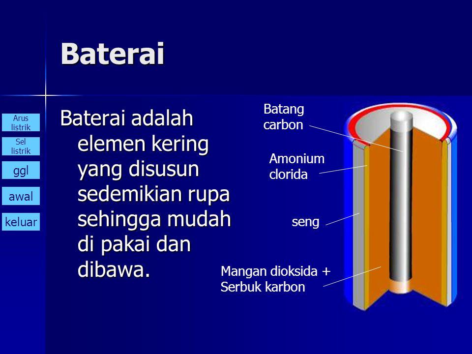 Baterai Baterai adalah elemen kering yang disusun sedemikian rupa sehingga mudah di pakai dan dibawa. Batang carbon Mangan dioksida + Serbuk karbon Am