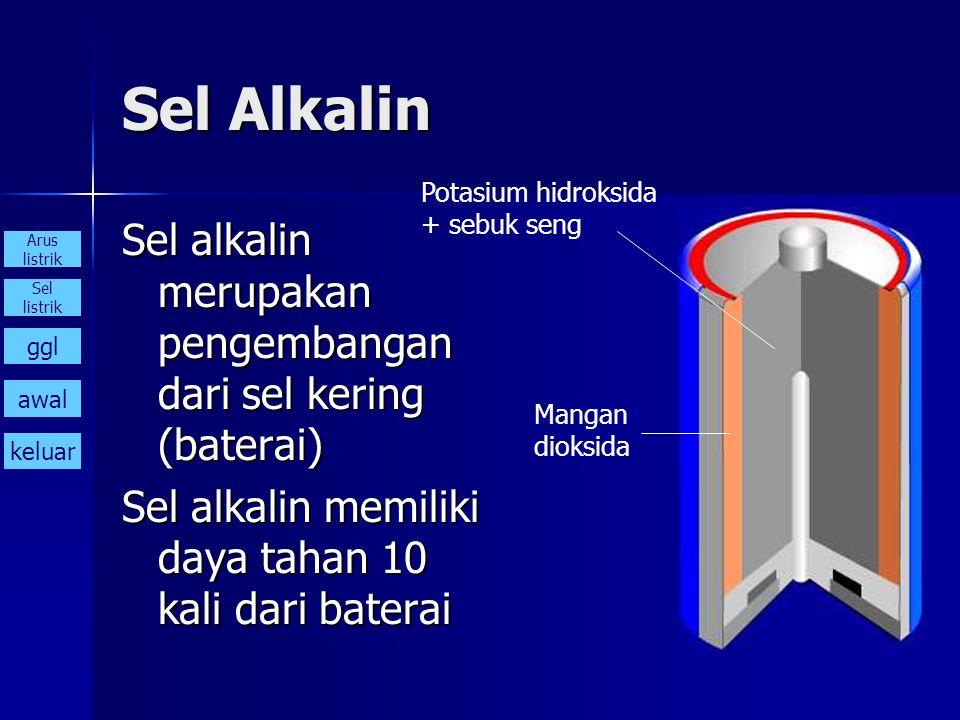 Sel Alkalin Sel alkalin merupakan pengembangan dari sel kering (baterai) Sel alkalin memiliki daya tahan 10 kali dari baterai Potasium hidroksida + se