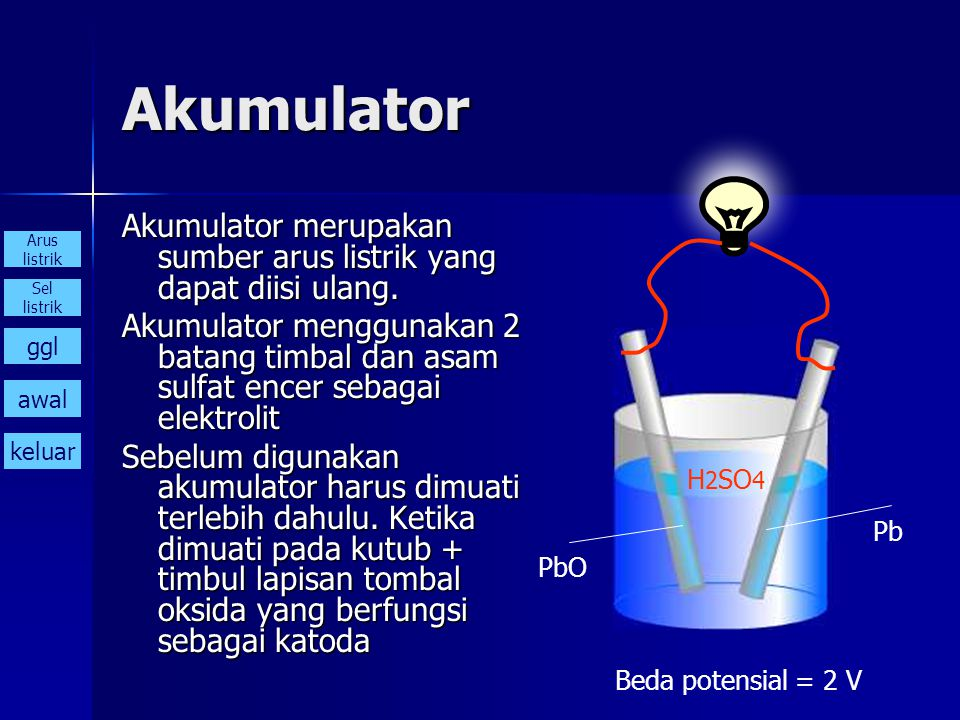 Akumulator Akumulator merupakan sumber arus listrik yang dapat diisi ulang. Akumulator menggunakan 2 batang timbal dan asam sulfat encer sebagai elekt