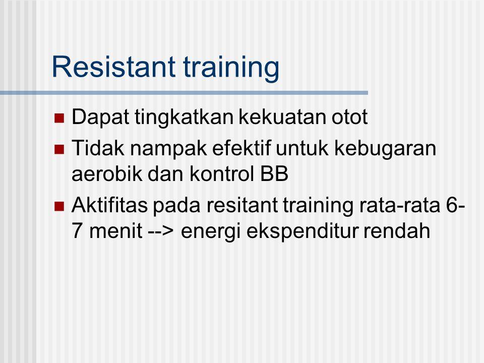 Resistant training Dapat tingkatkan kekuatan otot Tidak nampak efektif untuk kebugaran aerobik dan kontrol BB Aktifitas pada resitant training rata-ra