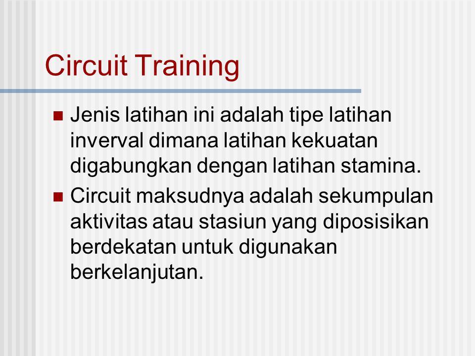 Circuit Training Jenis latihan ini adalah tipe latihan inverval dimana latihan kekuatan digabungkan dengan latihan stamina. Circuit maksudnya adalah s