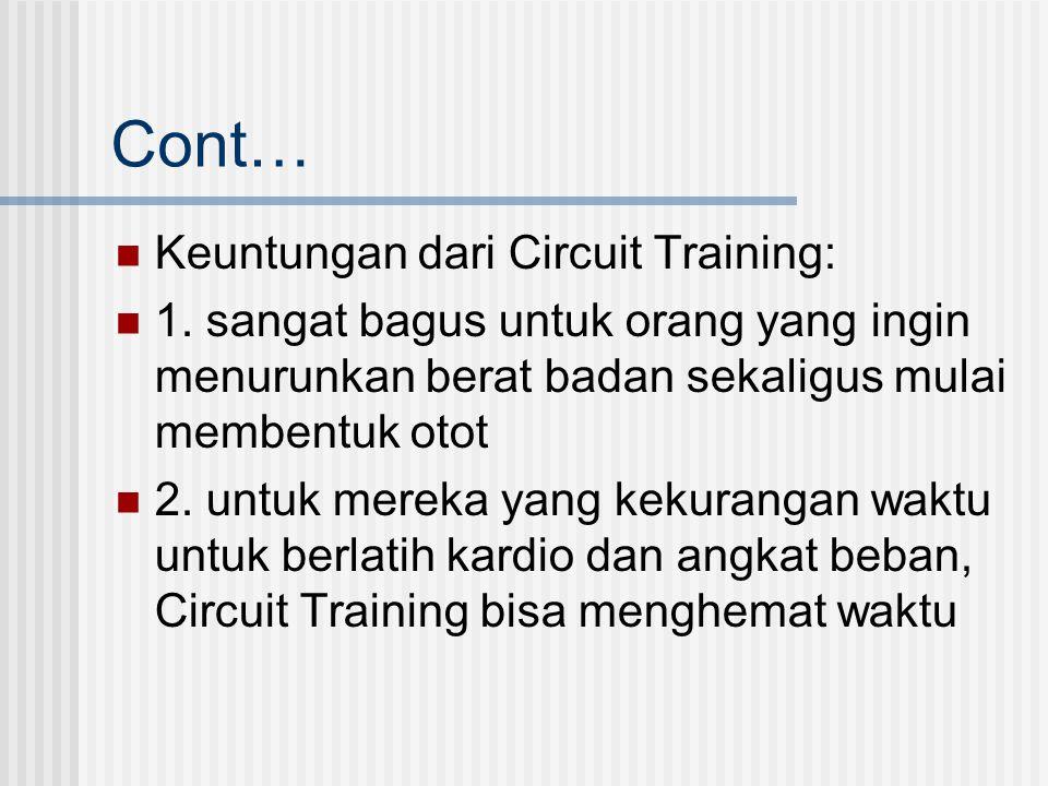 Cont… Keuntungan dari Circuit Training: 1. sangat bagus untuk orang yang ingin menurunkan berat badan sekaligus mulai membentuk otot 2. untuk mereka y