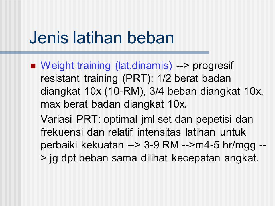 Jenis latihan beban Weight training (lat.dinamis) --> progresif resistant training (PRT): 1/2 berat badan diangkat 10x (10-RM), 3/4 beban diangkat 10x